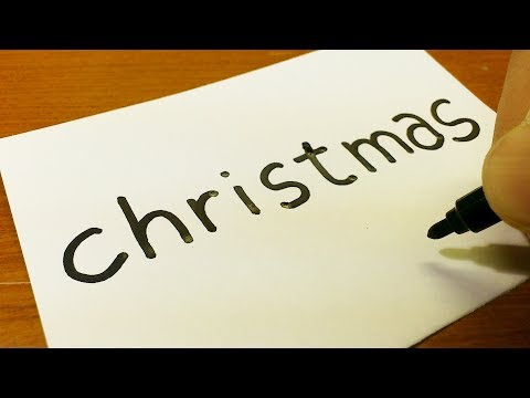 How to turn words Christmas into a Cartoon for kids -  How to draw doodle art on paper