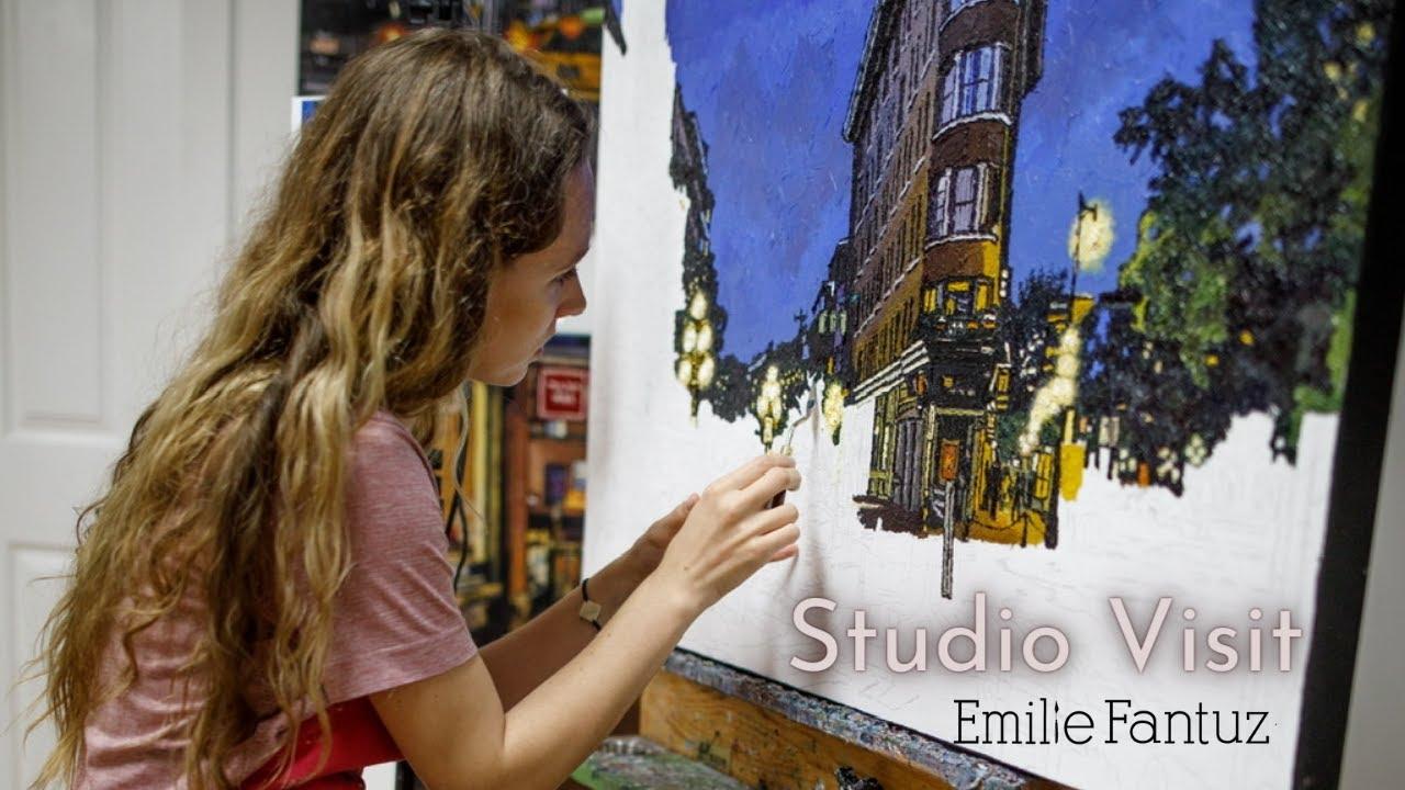 Artist Studio Visit - Emilie Fantuz Palette Knife Painting