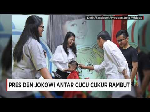 Presiden Jokowi Antar Cucu Cukur Rambut