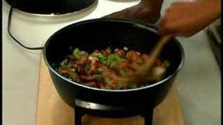 How To Make Chicken, Sausage, & Shrimp Jambalaya : Adding Onions, Bell Peppers, & Celery To Jambalaya
