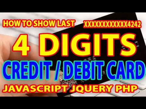 How to Show Credit Debit Card Last 4 Digits Only | JavaScript Jquery Php thumbnail