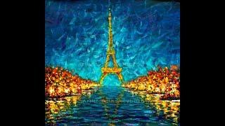 Купить картину Ночной Париж Эйфелева башня отражается в реке Сене. Картина Эйфелева башня на холсте.