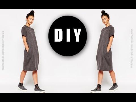 a4b2caadfb DIY T-shirt dress w  pockets - YouTube