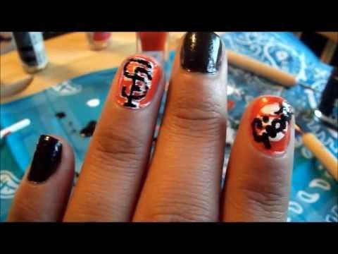 MLB Series :: SF Giants:: Nail art - YouTube