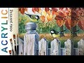 Great Tit Birds On The Fence  How To Paint Acrylic Tutorial Demo Ngebren(.mp3 .mp4) Mp3 - Mp4 Download