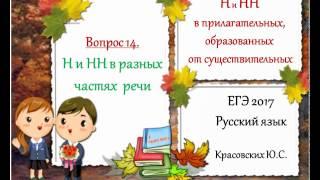 ЕГЭ 2017. Русский язык. Н и НН в кратких и полных прилагательных (Вопрос 14)