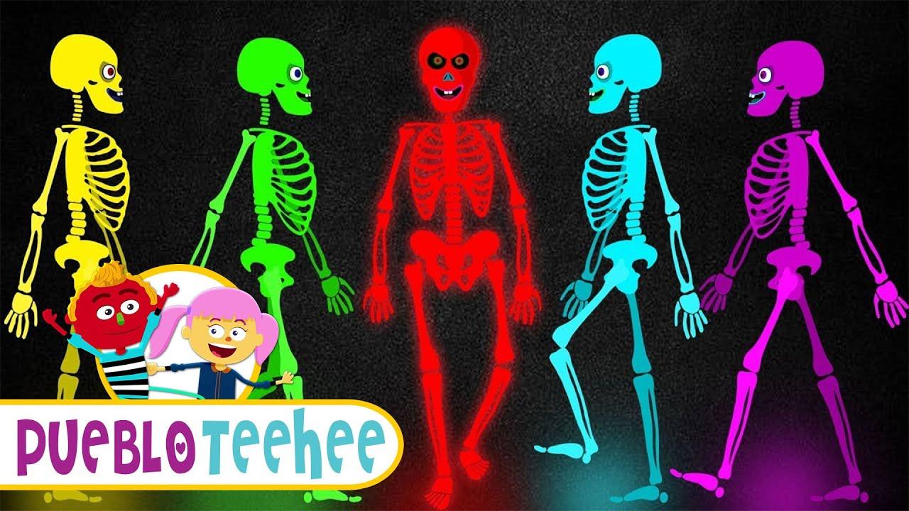 5 Esqueletos De Colores Salieron Una Noche Canciones Infantiles Pueblo Teehee Youtube