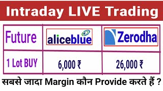 Intraday Live Trading | Zerodha Vs Alice Blue: More Leverage| BANKNIFTY trading