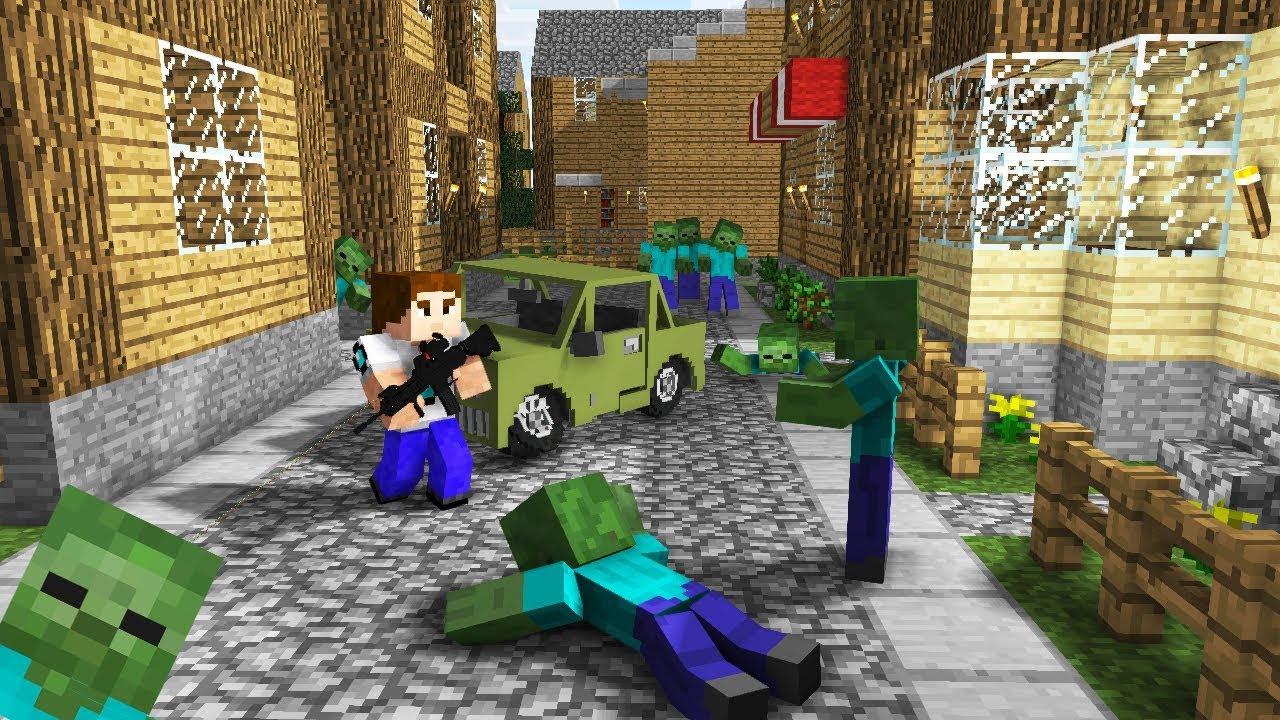 игры майнкрафт выживание в городе зомби #1