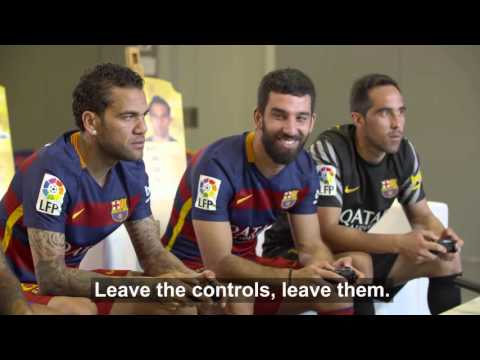 BEHIND THE SCENES - FC Barcelona players enjoy themselves with FIFA 16