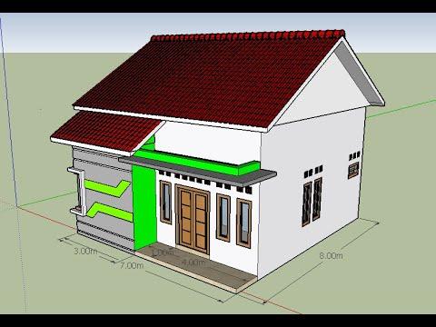 Contoh Denah Rumah Minimalis Sederhana Ukuran 7x8 1 Lantai 2 Kamar dan Mushola