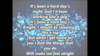 copy of the beatles a hard days night with lyrics