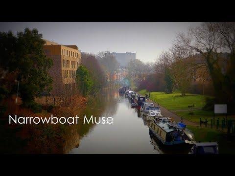 Narrowboats on the Nottingham canal at Castle Marina, England