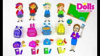 📚✏✂🏫SCHOOL SUPPLIES FOR PAPER DOLLS PAPERCRAFT BACK TO SCHOOL