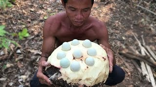 Primitive Culture: Awesome Cooking Wild Eggs in Big Potato