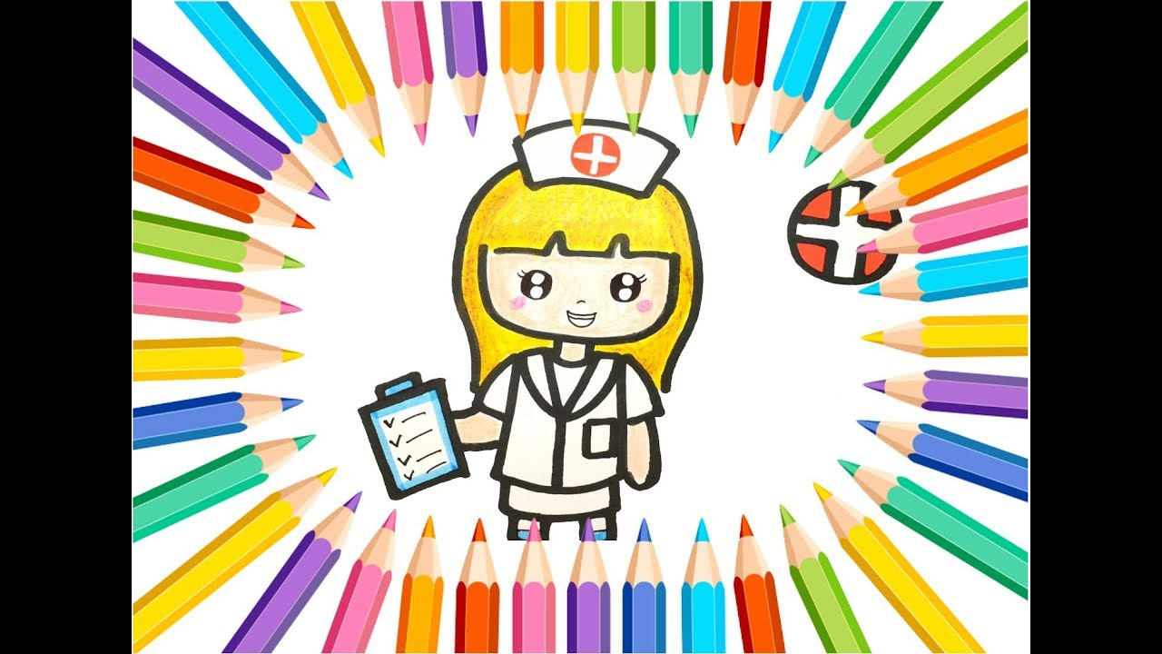 Nurse Drawing And Coloring Tutorial For Kids