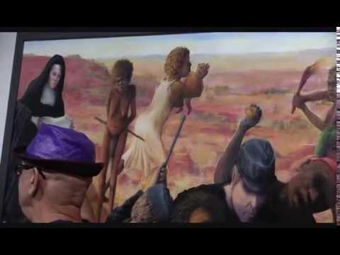 Harold Thomas, winner of 2016 Telstra NATSIAA, discussing his winning art work.
