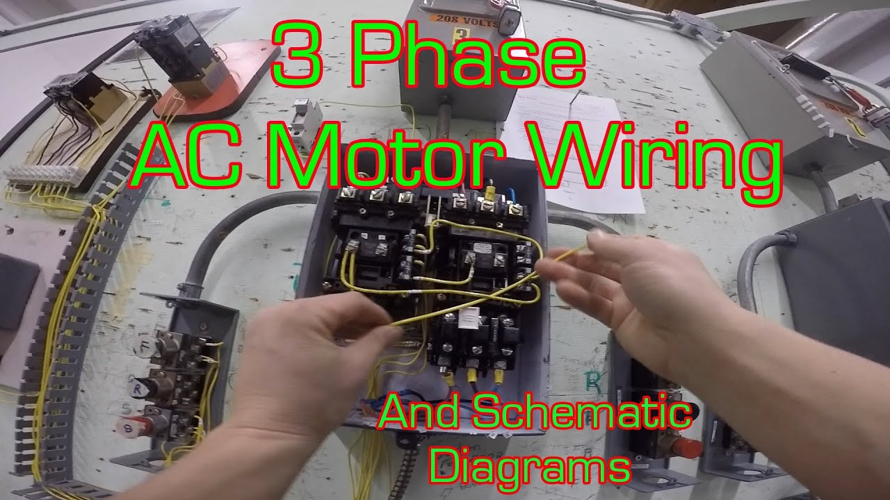 3 phase magnetic motor starter and wire diagram youtube rh youtube com 480 Volt 12 Lead Motor 230 Volt 3 Phase Diagram