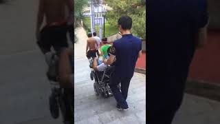 Seat up and Down&Stair Climbing COLOR 220E Functional Electric Wheelchair--Down Stair