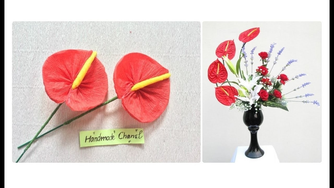 Diy Anthuriums From Crepe Paper Flower Hmc Art Youtube
