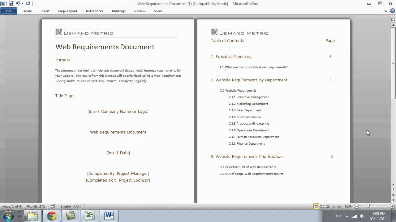 Website Requirements Document YouTube - Website requirements template