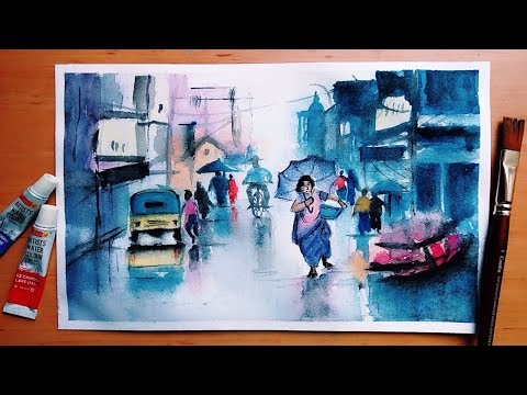Rainy Cityscape | Watercolor Landscape Painting