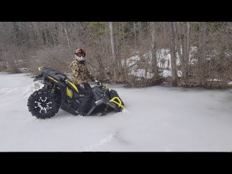 CAN AM THROUGH THE ICE!  MUD TUGGER ROPE SAVES THE DAY!