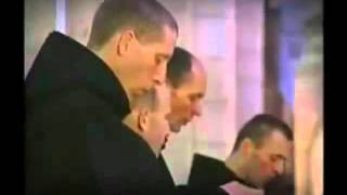 Monks singing Gregorian Chant in a Catholic Benedictine Seminary