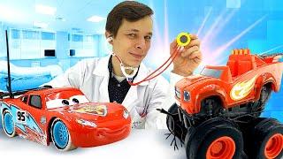 Видео про игры в больницу. Чиним Вспыша и Маквина. Игрушки из мультфильмов Тачки и Чудо Машинки!