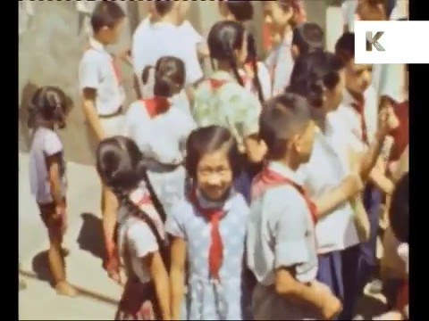 1966 Shanghai China, School, Streets, Ships, Rare Colour Footage