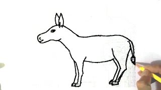 How to draw a Donkey  - in easy steps for children, kids, beginners