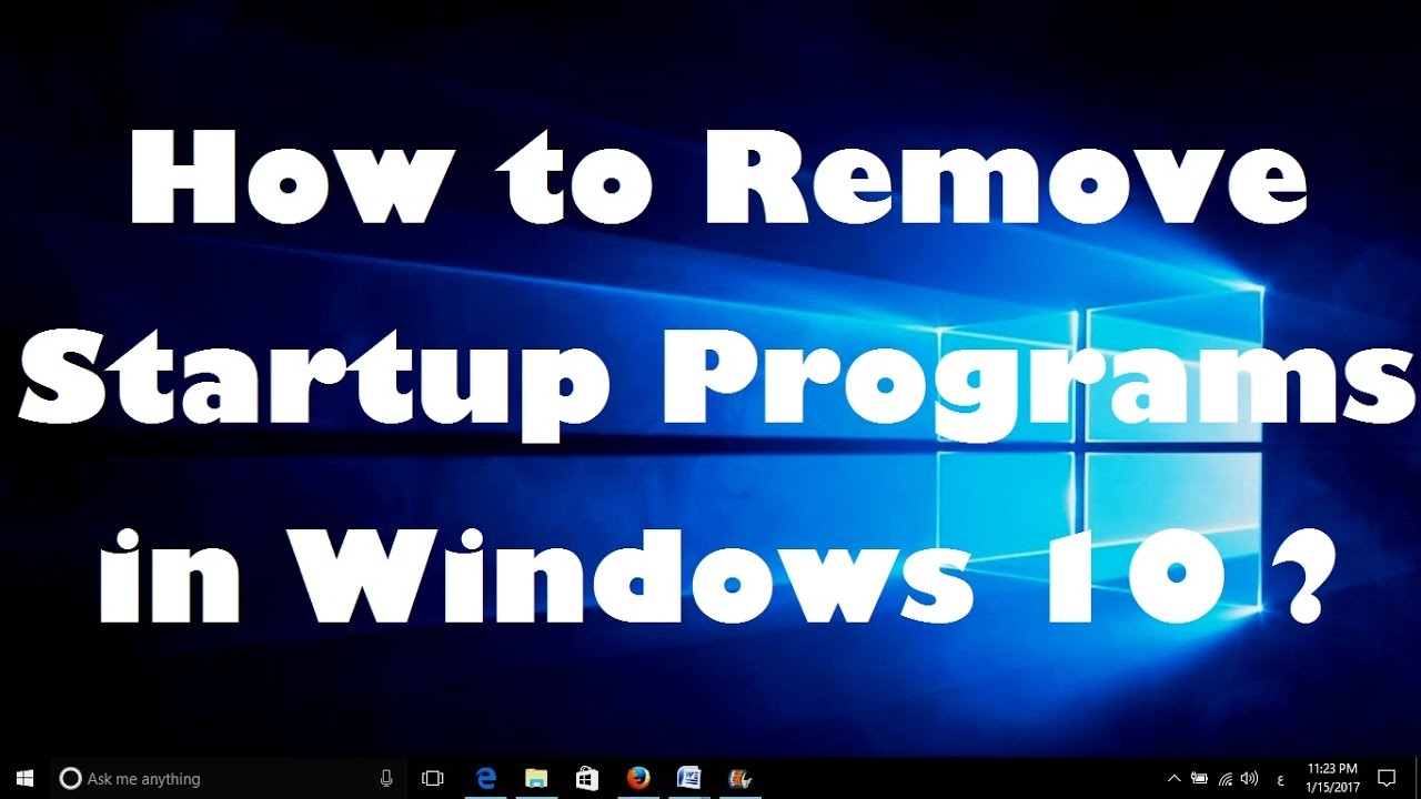 remove programs from windows start up