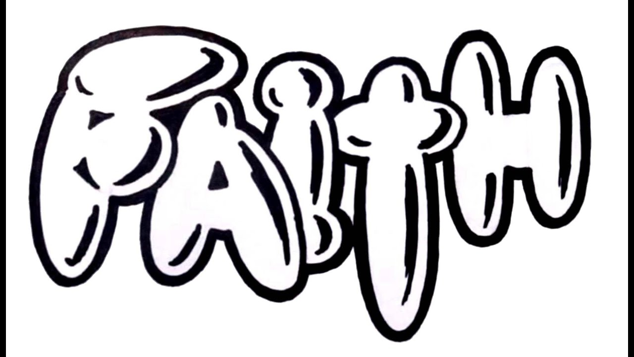 How To Draw Graffiti Bubble Letters The Word Faith