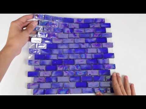 Iridescent Pool Glass Tile Cobalt 1x2 - 120KELUPR21204