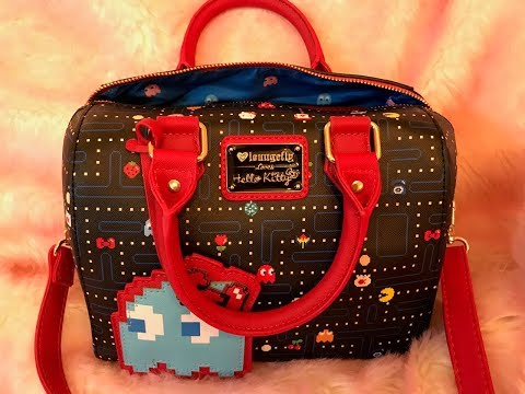What's In My Pac-Man Loungefly Loves Hello Kitty Crossbody Satchel Bag + Arcade Games