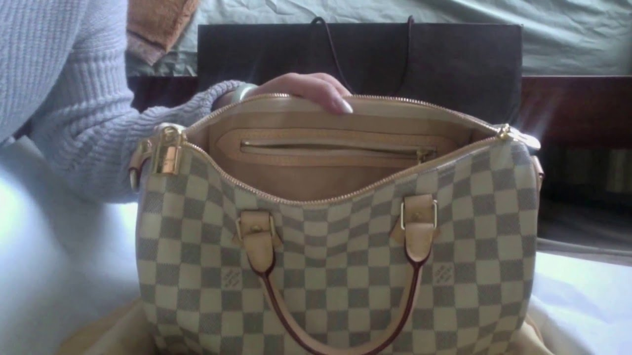 2def80a79133 Unboxing Louis Vuitton Speedy 30 Bandouliere Damier Azur - YouTube