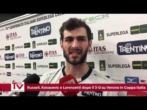 Russell, Kovacevic e Lorenzetti dopo il 3-0 nel derby dell'Adige di Coppa Italia