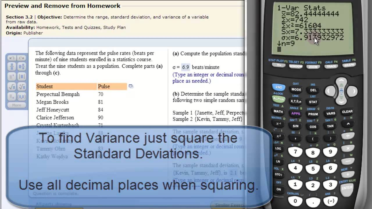 Mean and standard deviation variance also on ti83 or ti84 mean and standard deviation variance also on ti83 or ti84 calculator youtube ccuart Gallery