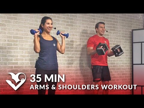 35 Minute Arms and Shoulder Workout at Home for Women & Men - Dumbbell Shoulder and Arm