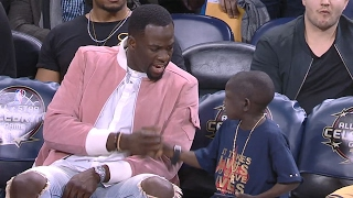 Repeat youtube video Jarrius Robertson HILARIOUS Conversation with Draymond | Mic'd Up | 02.17.17