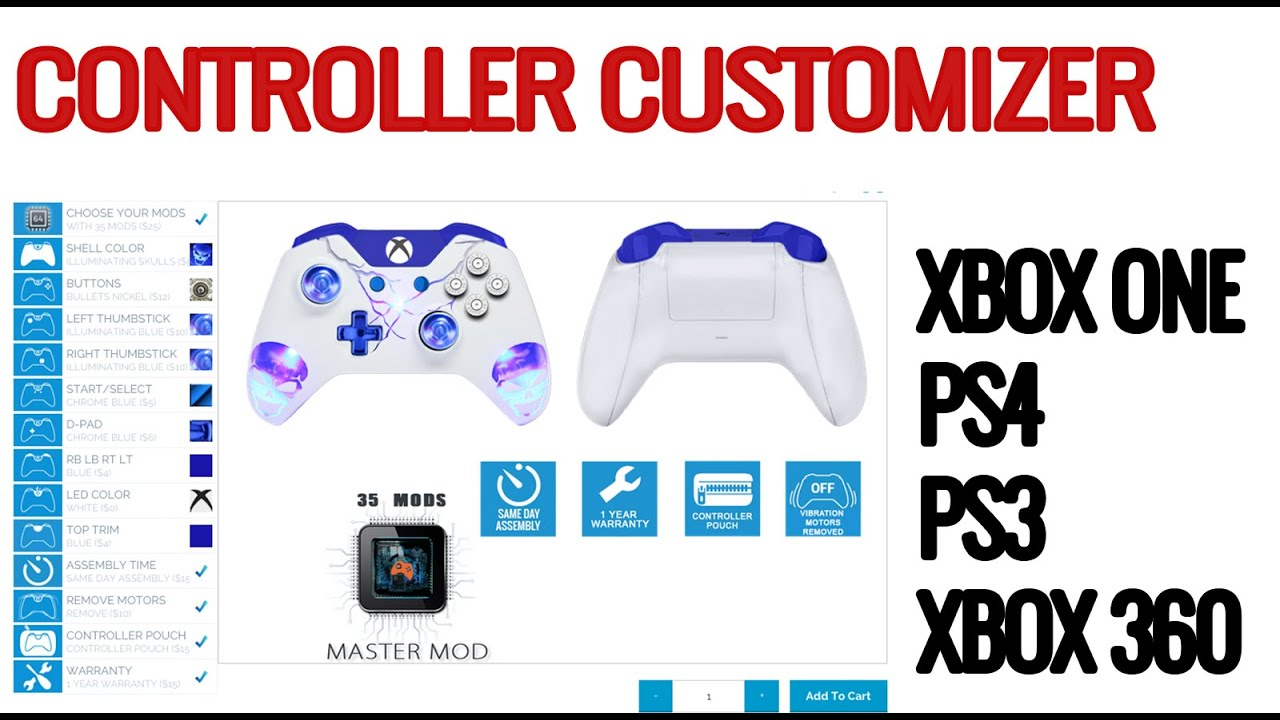 Controller Customizer for Xbox one, PS4, Xbox 360 and PS3 ...