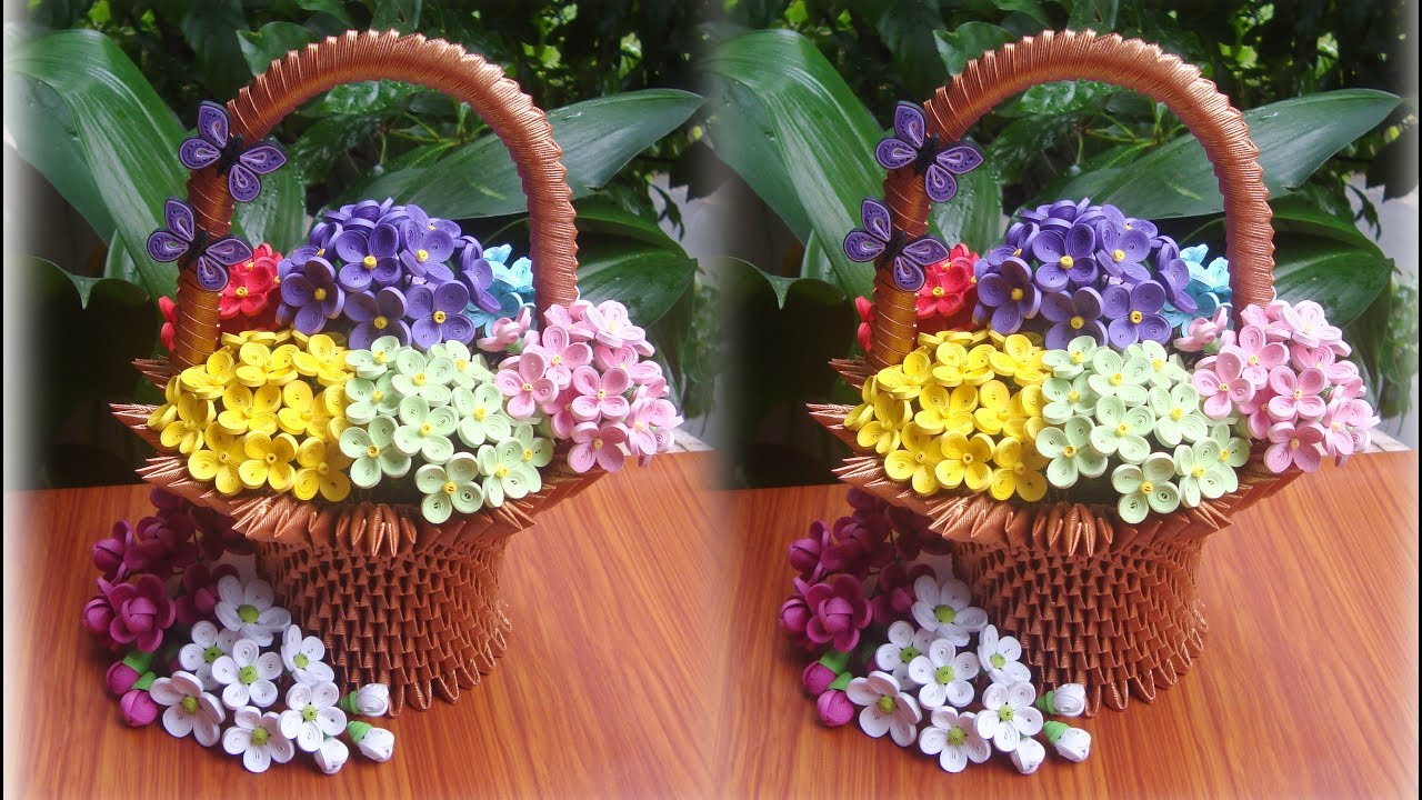 How To Make 3d Origami Flower Basket Diy Paper Flower Basket Youtube