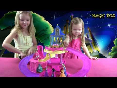 Disney Princess Glitter Glider Castle Princess Belle Queen Elsa Cinderella dancing in ORBE