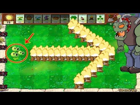 Plants Vs Zombies Hak - 1 Threepeater vs 9999 Gargantuar Zomboss