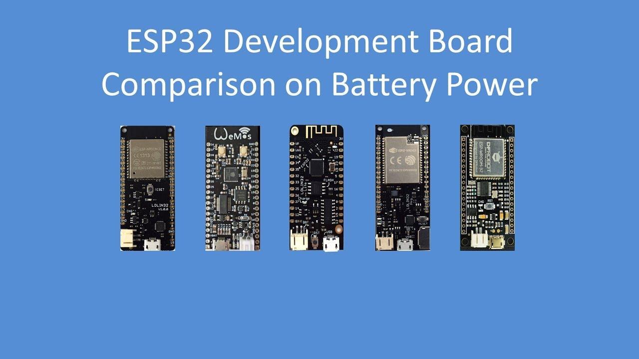 Tech Note 095 - Testing 5 popular ESP32 Development Boards on Battery Power