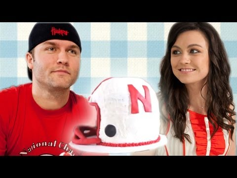Nebraska Football Helmet Cake for Scott Porter - How to Bake It in Hollywood with Ashley Adams