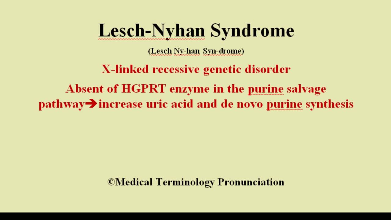 an analysis of the lesch nyhan syndrome a rare genetic disorder Lesch-nyhan syndrome (or disease), i believe the term is used interchangeably, is a rare disorder that is carried by mother and passed to son, and occurs because of a deficiency of the enzyme called hypoxanthinine-guanine phosphoribosyltransferase (hprt) [3].