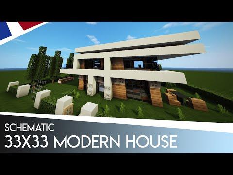 Minecraft 33x33 Maison Moderne Schematic Inclus Fr
