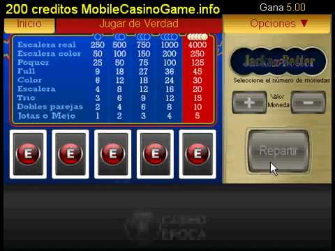 Jotas o Mejor Poker en video 200 creditos GRATIS a Casino Epoca1237