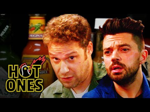 Seth Rogen and Dominic Cooper Suffer While Eating Spicy Wings  Hot Ones